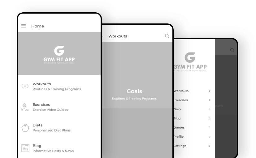 Gym Fit wireframes