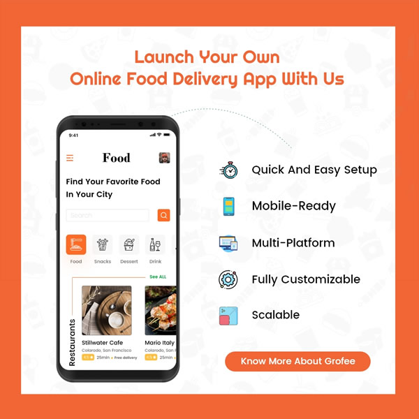 Launch your online food ordering app with grofee